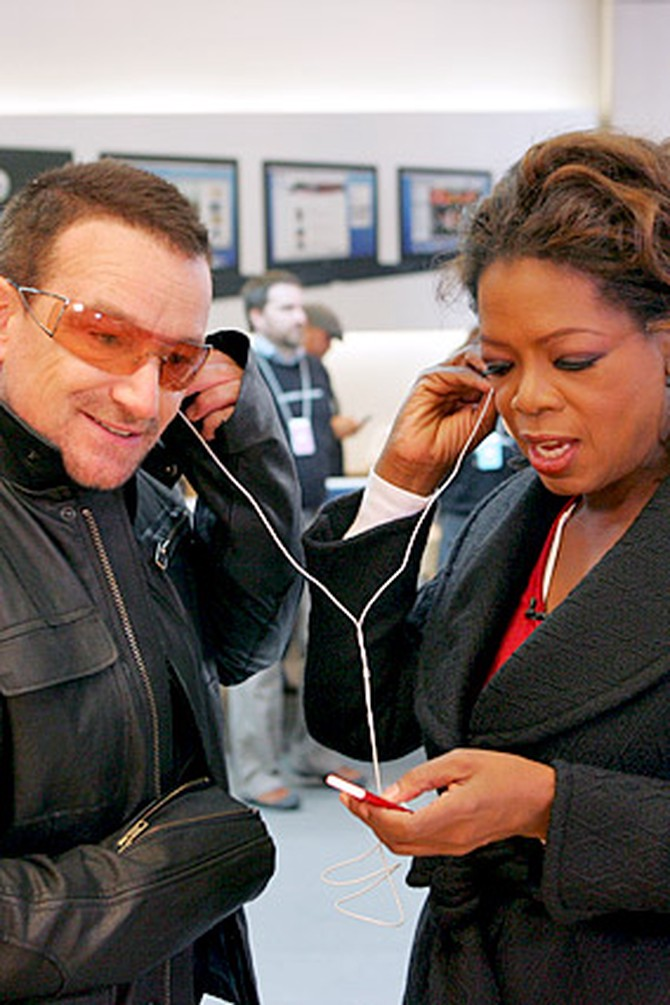 Oprah and Bono rock out on an iPod.