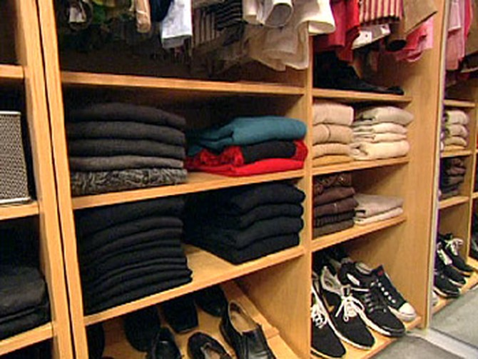 Colin's meticulously organized closet.