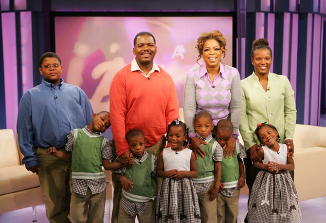 Oprah with Chris, Diamond and their sextuplets
