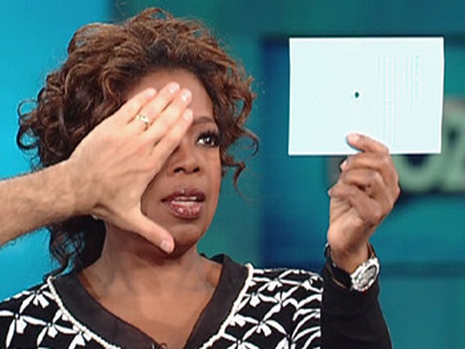Oprah determines her right eye is dominant.
