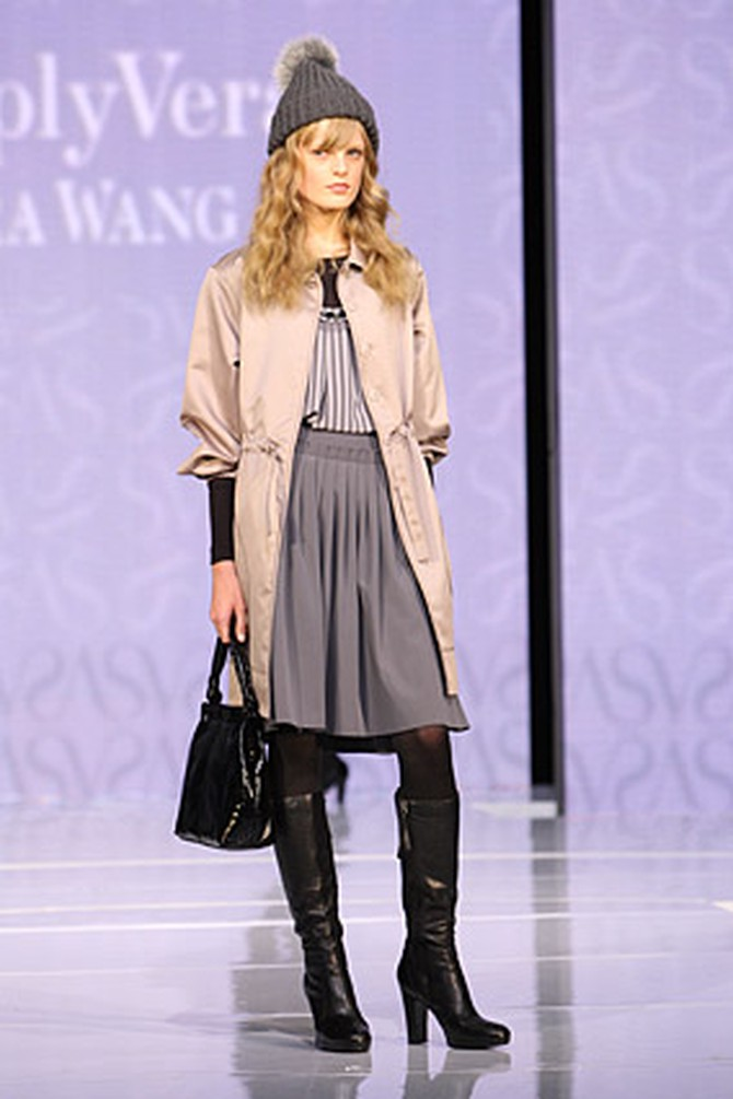 Simply Vera's silk coat and gray pleated skirt