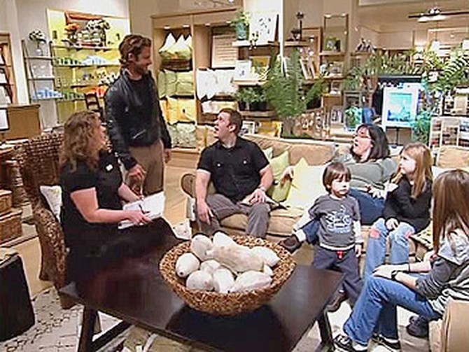 Nate surprises Kari, Dave and the kids at Pottery Barn.