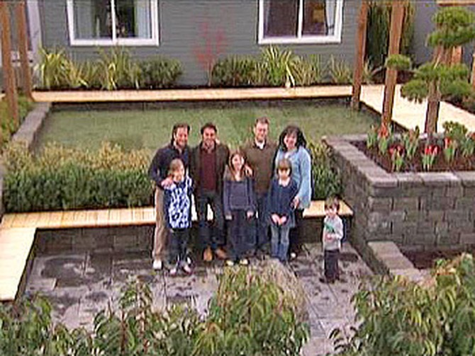 The Hale-Jo family in their new front yard with Jamie Durie and Nate Berkus