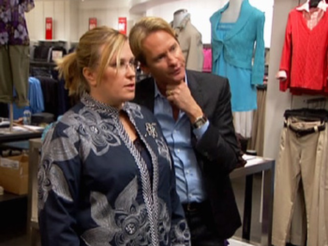 Carson helps Anita find flattering clothes.