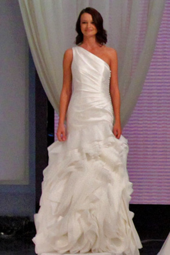 One-shoulder mikado and structured organza fit-and-flare gown