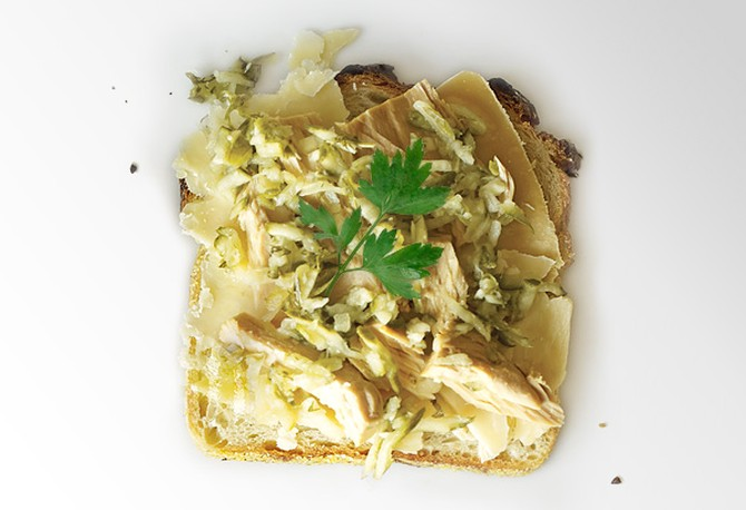 Fontina, Oil-Packed Tuna and Relish on White Grilled Cheese Sandwich