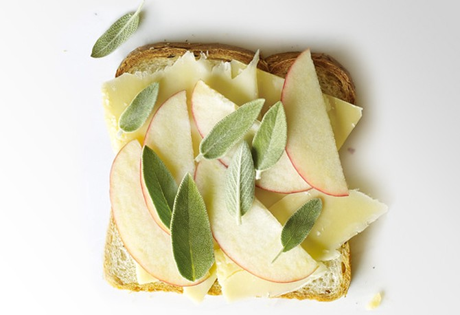 Gruyere, Apple and Sage on Rye Grilled Cheese Sandwich