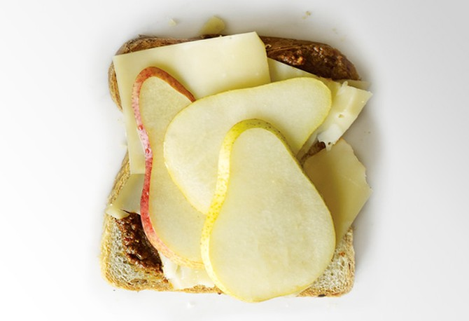 Fontina, Harissa and Pear on Rye Grilled Cheese Sandwich