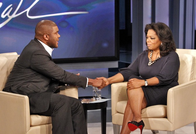 Tyler Perry on The Oprah Show in October 2010