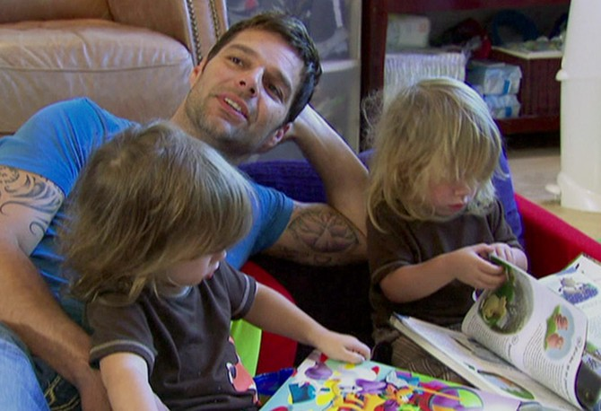 Ricky Martin with twins