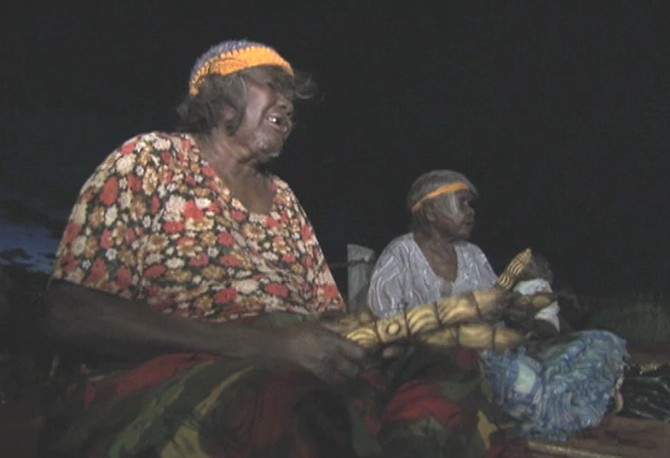 A group of Anangu perform the Inma