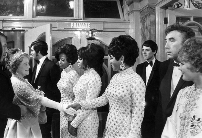 The Supremes meeting Queen Elizabeth in 1968