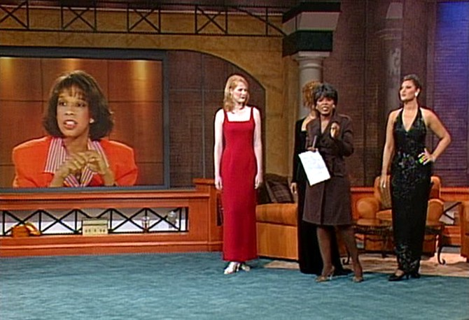 Oprah and her audience help Gayle find a dress in 1997