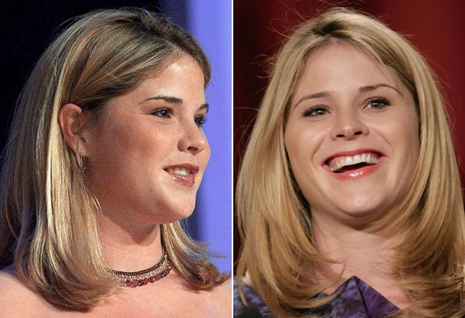 Jenna Bush in 2001 and 2011