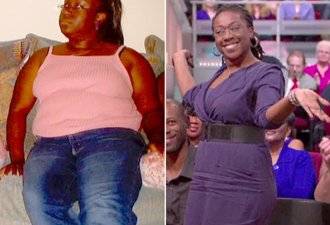 Angela before and after losing 114 pounds