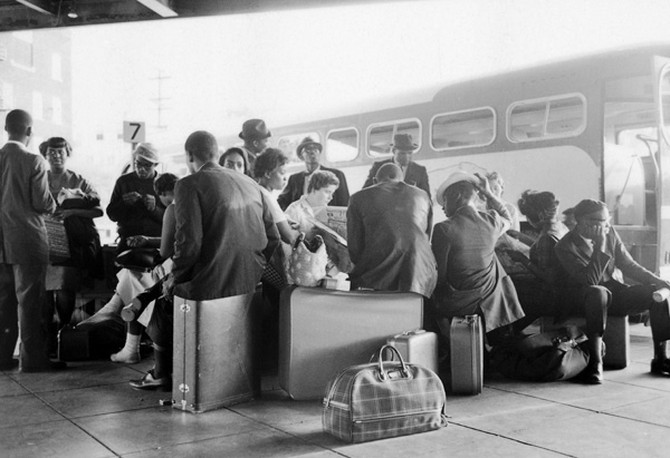 Freedom Riders waiting at bus terminal