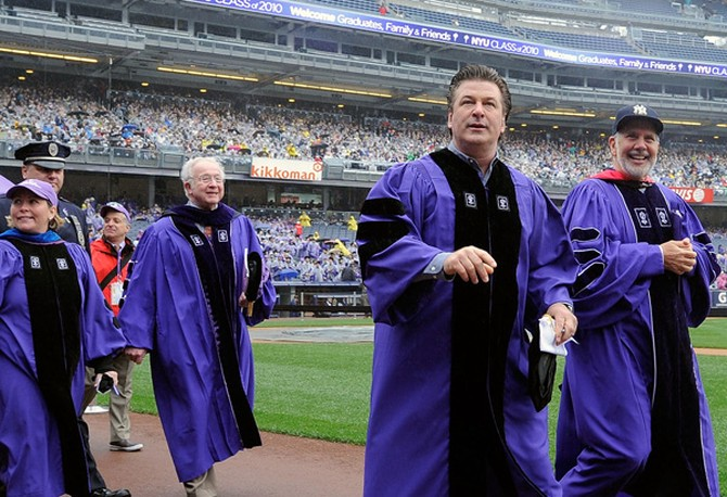 Alec Baldwin speaks at NYU's graduation.