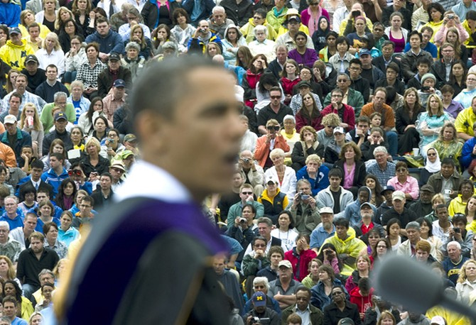 President Barack Obama addresses the class of 2010 at the University of Michigan