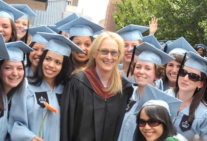 Actress Meryl Streep poses for a photo with members of Barnard College's class of 2010.