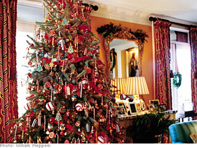 Candy canes and glittering amber lights give the tree a spectacular old-fashioned appeal