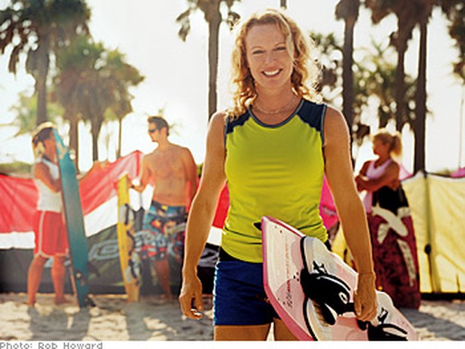 Karen Berber in Key Biscayne, Florida, with fellow kiteboarders